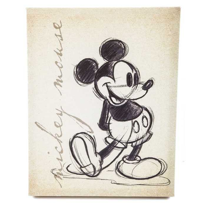 Nothing warms the heart quite like a classic cartoon. This Tan Vintage Mickey Mouse Canvas Wall Art look like it was just drawn by Walt Disney himself. The marbled tan background adds to the antique f