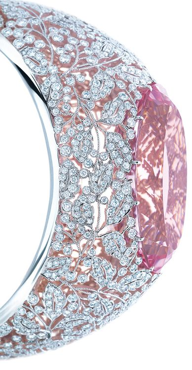 Side view: Tiffany & Co. diamond and morganite bracelet in platinum and rose gold, featuring an exceptional 74.63-carat morganite. From the 2013 Tiffany Blue Book Collection. Via Diamonds in the Library.