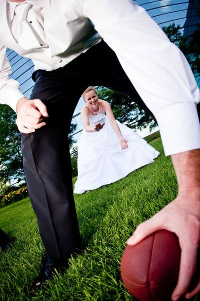 Image result for marriage couple at goalpost on football field