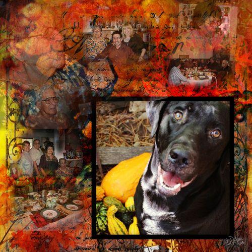 ThanksgivingPg_web Photos Lisa Dolan Digi scrapbook page created with the Artistic Autumn kit by Rucola Design at deviantscrap.com