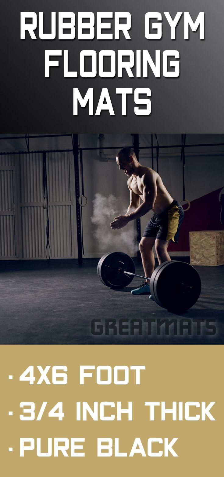 4x6 Ft Black Rubber Gym 3 4 Inch Floor Mat In 2020 Gym Flooring Rubber Gym Flooring Gym Design