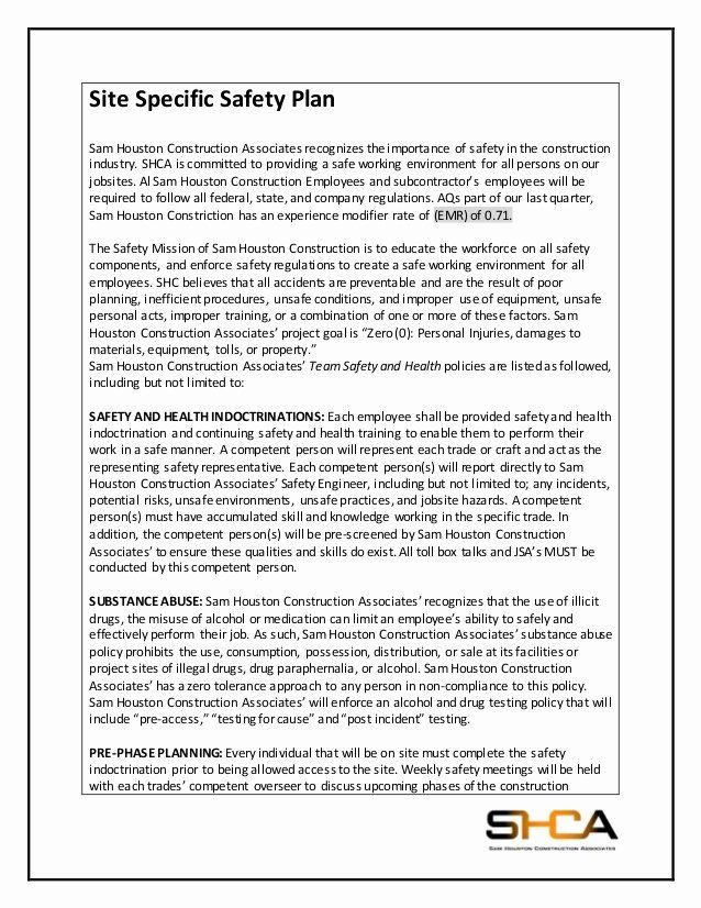 Site Safety Plan Template In 2020 Business Plan Template Sample