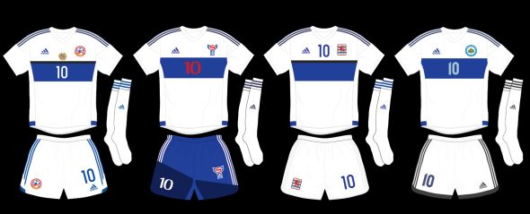 Adidas outfits four UEFA International teams with same kit. Full story at SportsLogos.Net