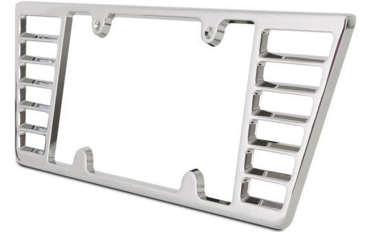 """Billet Aluminum License Plate Frame for C6 and C7 Stingray Corvette  Give your C6 or C7 Stingray Corvette the ultimate in cutting edge billet customization. This billet Corvette open ended license plate frame was designed for the C7 Stingray but also fits the C6. The frame features angled louvers, is made of solid 3/8"""" thick T-6061 aircraft billet aluminum and is triple chrome plated for a long lasting finish."""