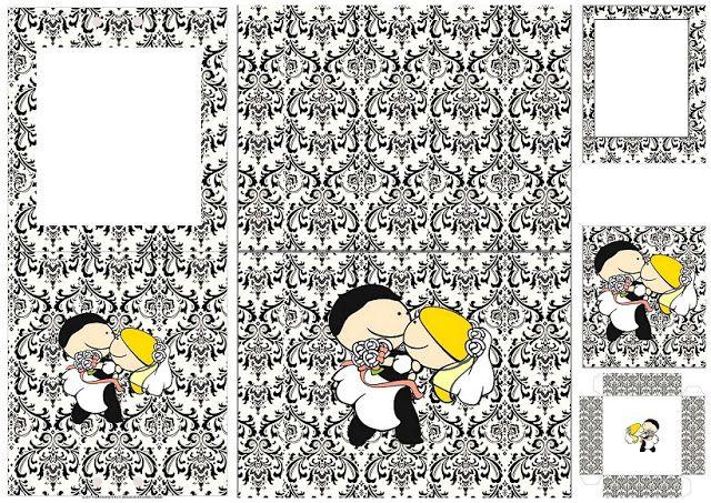 Divertido Novio Cargando a la Novia en Damascos en Blanco y Negro: Mini Kit para Imprimir Gratis.