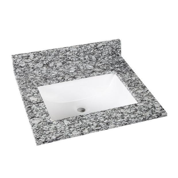 Kendall Gray Granite 25 In Vanity Top Includes Backsplash Grey Granite Kendall Gray Granite 25 inch vanity top