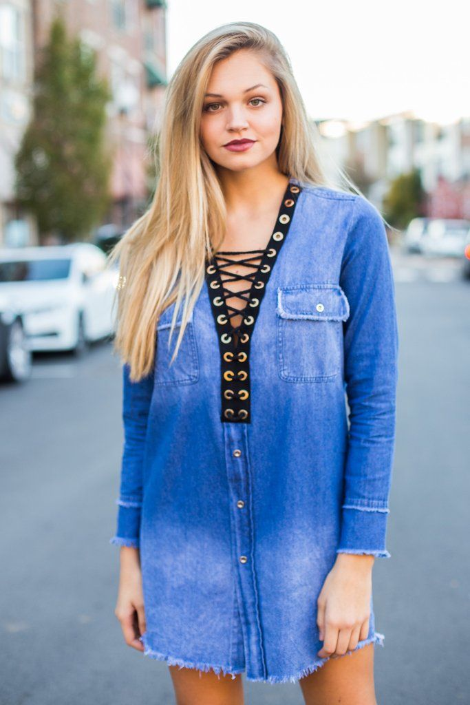 Criss To The Cross Denim Tunic Dress – Swoon Boutique