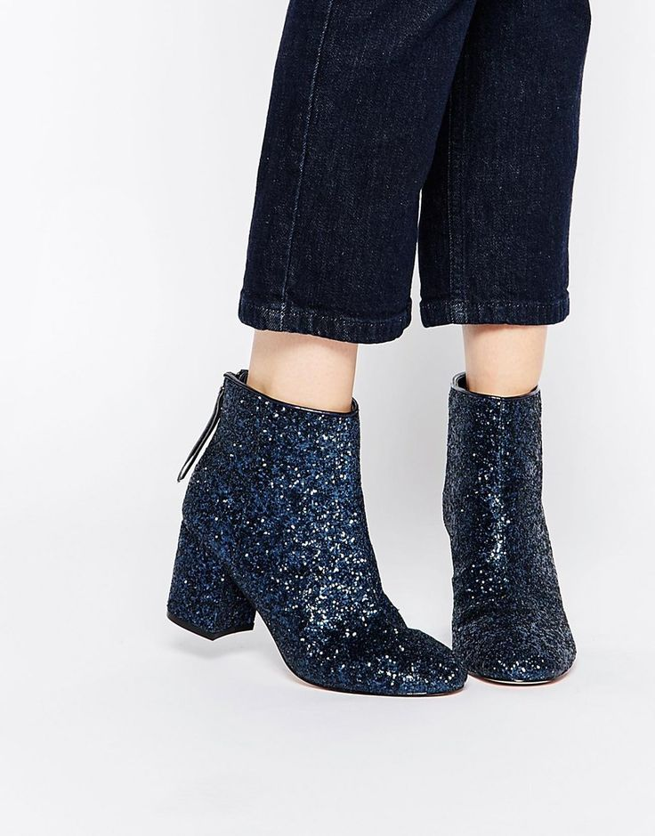 $69 for ASOS RESIDENT Navy Blue Glitter Ankle Boots. Thinking these might be good w/ Navy sparkle dress from Nordstroms?