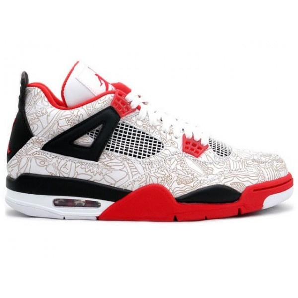 Air Jordan 4 (IV) Laser Fire Red Retro White / Varsity Red - Black The Air Jordan  4 (IV) Retro Laser Fire Red was the first Laser Print model release.