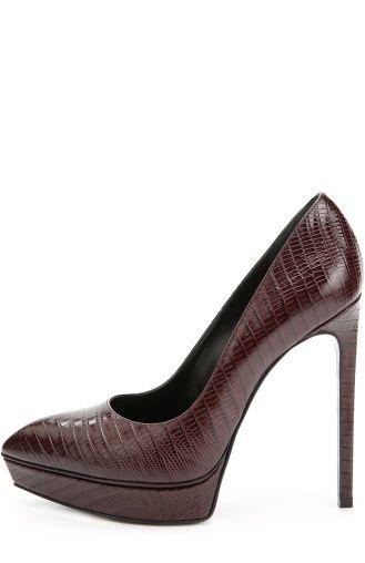 Женские красные кожаные туфли janis на шпильке Saint Laurent, сезон FW 16/17, арт. 320245/CJ500 купить в ЦУМ   Фото №1