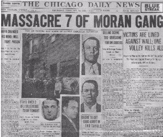 The Saint Valentine's Day Massacre is the name given to the 1929 murder of seven mob associates as part of a prohibition era conflict between two powerful criminal gangs in Chicago: the South Side Italian gang led by Al Capone and the North Side Irish gang led by Bugs Moran. Former members of the Egan's Rats gang were also suspected of having played a significant role in the incident, assisting Capone.