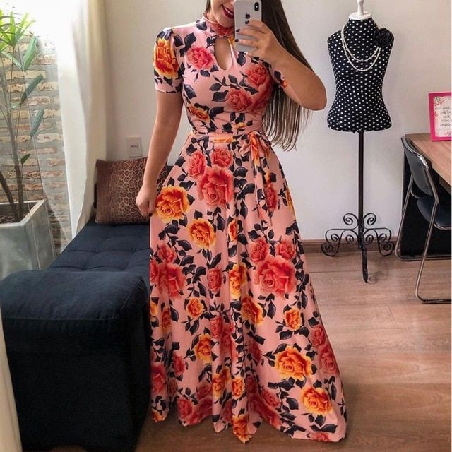 Women's floral printed maxi dress short sleeve casual swing long maxi dress with belt vintage party dress plus size 5xl