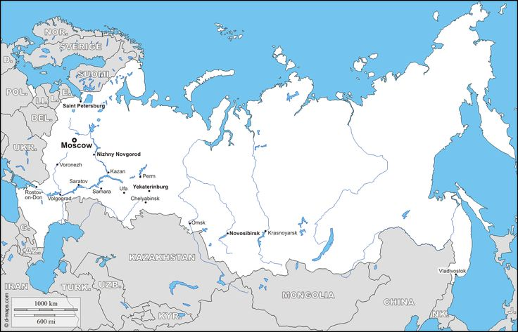Russia : free map, free blank map, free outline map, free base map : boundaries, hydrography, main cities, names