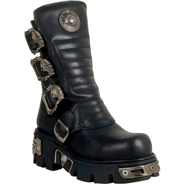 fb136a82edcf0 New Rock M.391X-S1 Men's Motorcycle Boot ($270) ❤ liked on Polyvore  featuring men's fashion, men's shoes, men's boots, black, mens rock  climbing shoes, ...