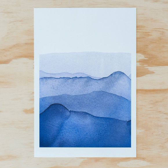 Our blue mountains watercolour painting is available to purchase as an A3 giclee print.   Printed on 300gsm 100% cotton rag with archival pigment inks, this watercolour has inspired much of our new range and were thrilled to be offering it to you as an artwork!