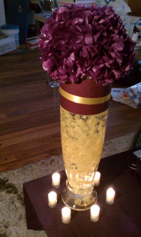 Purple Gold Centerpiece Ideas : Dark purple wedding centerpieces