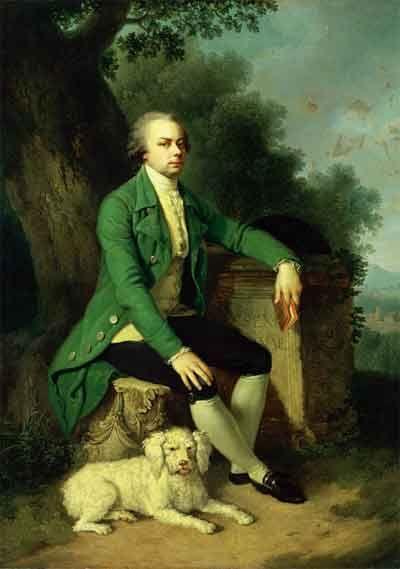 Я.Ф.Хаккерт, И.Б.Лампи. Портрет Н.Б.Юсупова с собакой. Между 1786 и 1789. Холст, масло. ГЭ