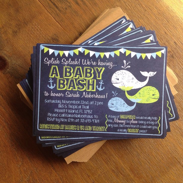 Chalkboard Nautical Whale and Anchor Baby Shower Invitation by TypeMeetsPaper on Etsy