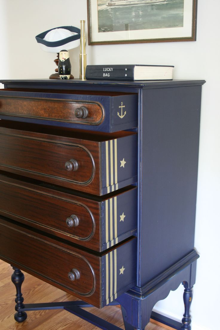 Refurbished Antique Highboy Chest of Drawers made by Berkey & Gay Furniture His name is Admiral Cochrane ⚓️  US Navy Inspired Design Vintage Vagabond Edgewater, MD  https://m.facebook.com/VintageVagabond/