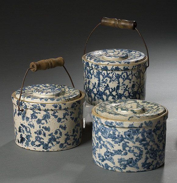 Three Blue Sponge-Decorated Butter Crocks - Cowan's Auctions