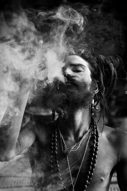 sadhu smoking ganja nepal black and white photography