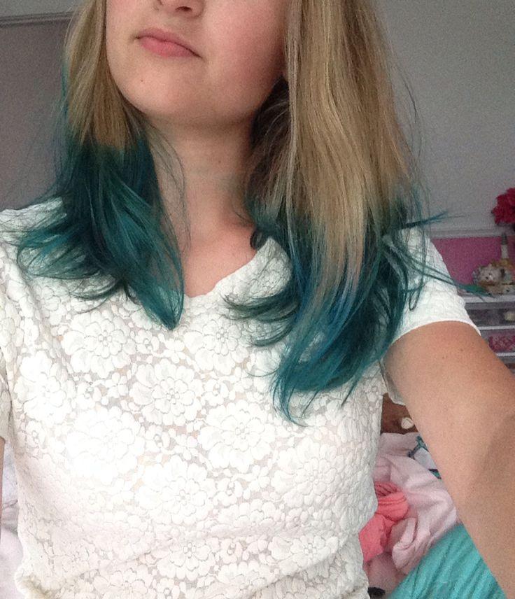 #manicpanic #dipdye atomic turquoise dip dyed ends