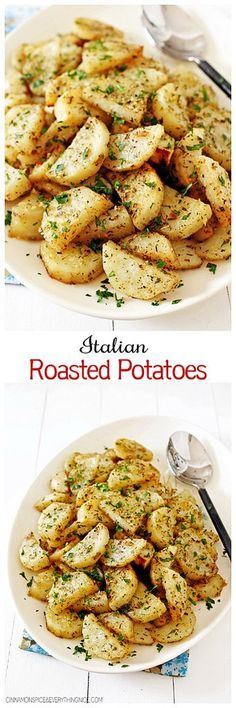 Roasted potatoes smothered in olive oil, garlic, Italian seasonings and Parmesan cheese. They make a great side for meatloaf, chicken or any kind of roast.
