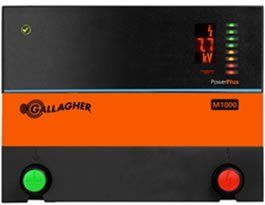 Gallagher 110 Volt Energizer M1000 by Field Guardian. $485.00. Ideally suited for large pastures. Quickscan Output Voltage: shows output voltage of the energizer at a glance and a digital output reading. Stored Energy: 10 joules. Gallagher M150 Energizer Gallagher 110 volt energizer has the ability to power up to 60 acres or 11 miles of multi-wire permanent fence. Model #G328504 Low Impedance Contains horses, cattle, bulls and pigs Plugs into 110-Volt outlet Stored Energy: 1...