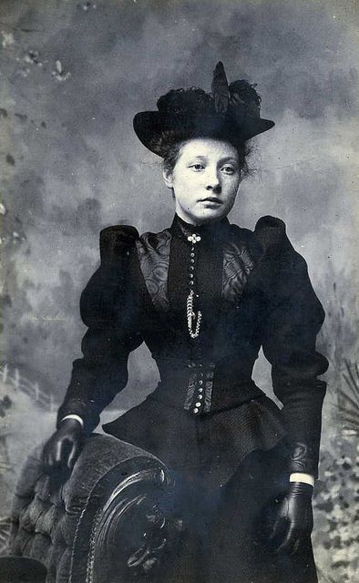 Alice Gibson, 1894. I love a good black Victorian dress, especially from the…