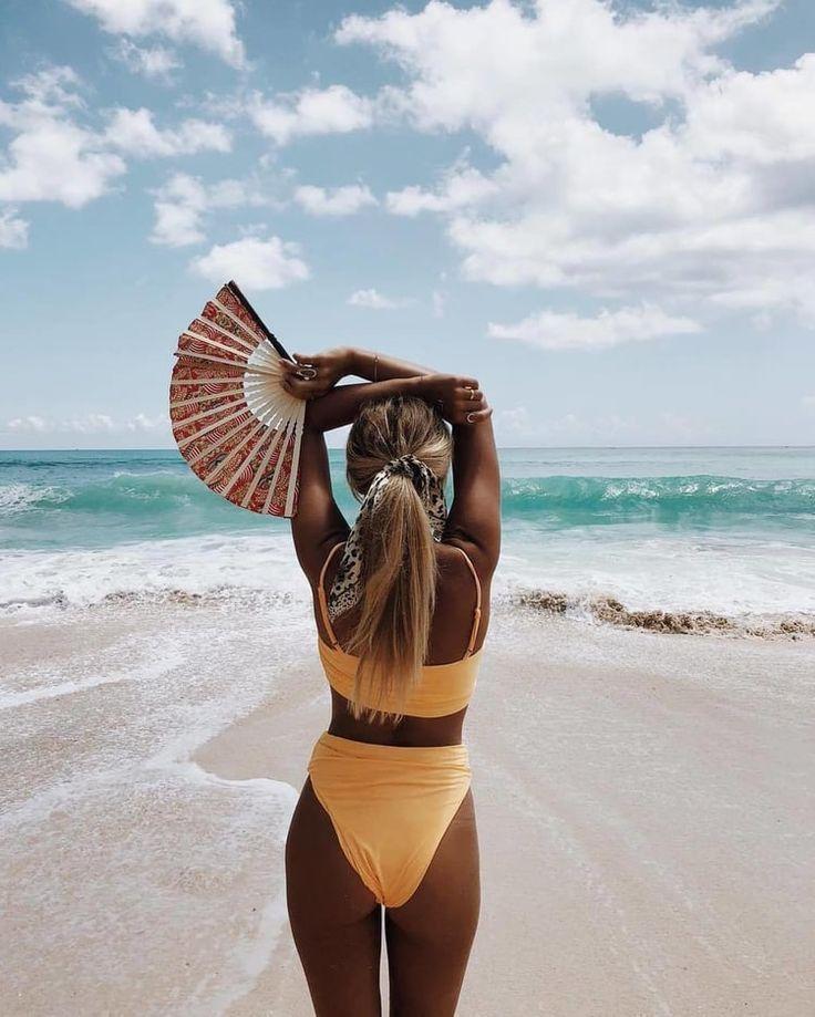 Beautiful shapely woman in a bikini stock image