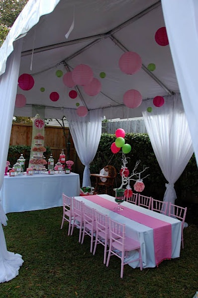 Pink green lilly pulitzer themed party nico and lala for Outdoor party tent decorating ideas
