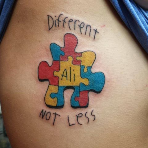 "Via Ink4Autism on November 15, 2013 - Sent in by Kati Salverson ""Got this for my 15 year old sister at the beginning of this month. Art done by Matt Green in Florence Alabama at Stay Bold Custom Tattoo Shop."" Click here to follow Ink4Autism https://www.facebook.com/Ink4Autism"