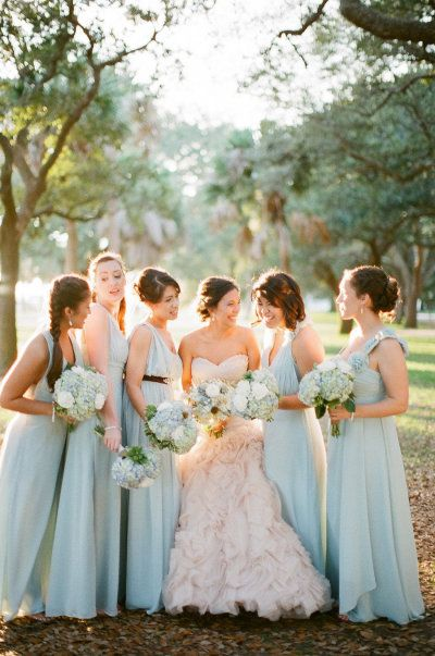pale blue bridesmaid dresses and a blush colored wedding gown Photography by landonjacob.com |  Event Coordination by ladyinwaitingevents.com |  Read more - http://www.stylemepretty.com/2013/06/12/charleston-wedding-from-landon-jacob-productions/