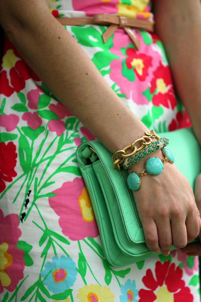 dress-Lilly, bracelets-loren hope: Happy Birthday, Summer Gardens, Lilly Pulitzer, Fashion Style, Green Handbags, Summer Color, Life Style, Cute Bracelets, Style Blog