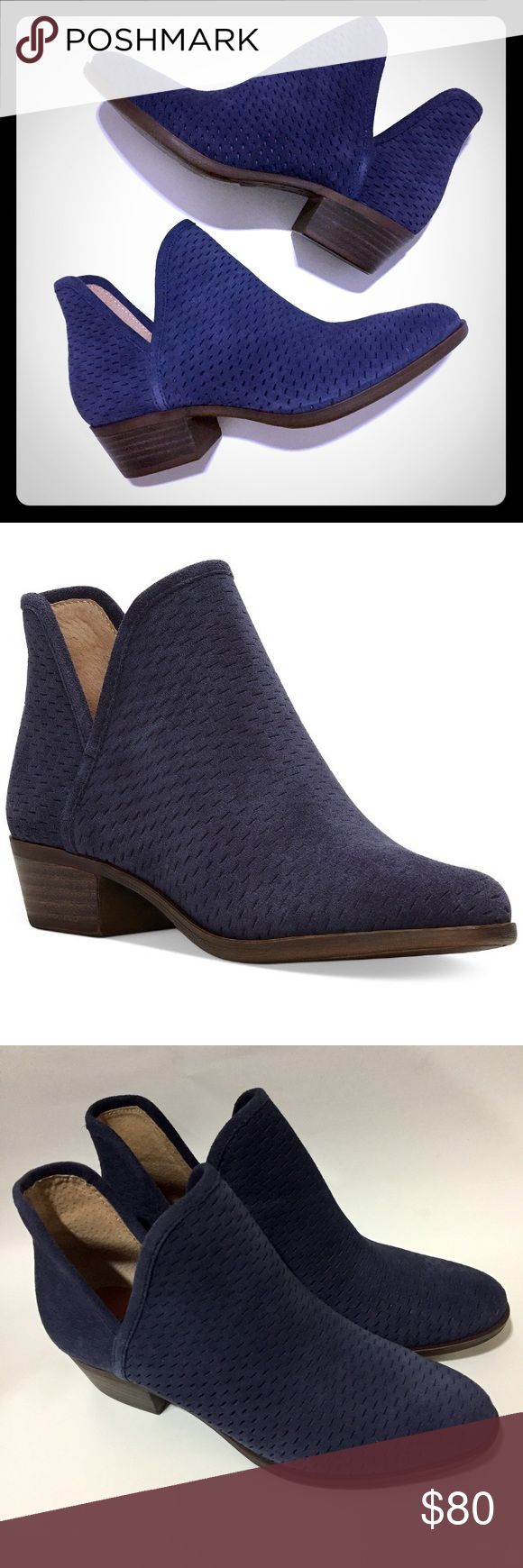 Lucky Brand Baley Perforated Booties for Fall! Lucky Brand Baley Perforated Booties Moroccan Suede Blue. This menswear inspired booties is great to slip on with skinny jeans or a daytime dress. Such a fun bootie to wear for Fall and into Spring. 1 1/4' blockheel Color is called Moroccan Suede. This bootie is currently still in dept. store for full price. Lucky Brand Shoes Ankle Boots & Booties