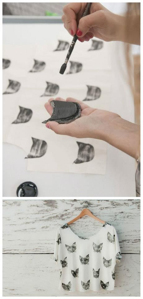 DIY cat print, i'm so doing this! Cool cat shirt!