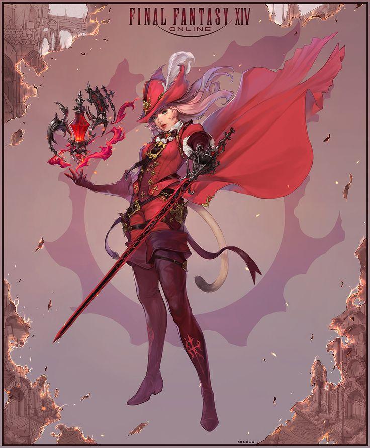 Final Fantasy XIV 'Storm Blood' Red Mage, bom Yeon on ArtStation at https://www.artstation.com/artwork/0Oaz5