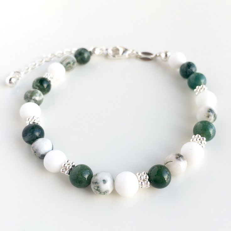 Handmade bracelet with Green Moss Agate, Tree Agate, white Jade gemstone beads and 925 sterling silver by Penello on Etsy https://www.etsy.com/listing/262744321/handmade-bracelet-with-green-moss-agate