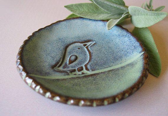 Pottery Bird Dish Tea Bag Plate Wedding Favor Candle