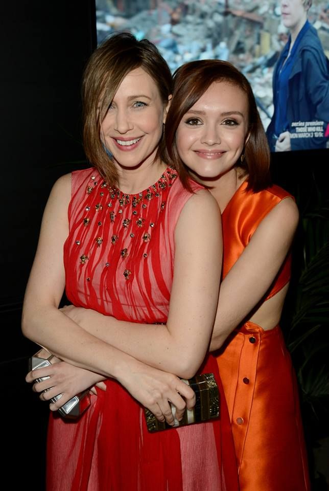 """Actresses Vera Farmiga and Olivia Cooke attend A&E's """"Bates Motel"""" and """"Those Who Kill"""" Premiere Party on February 26, 2014 in Hollywood, California."""