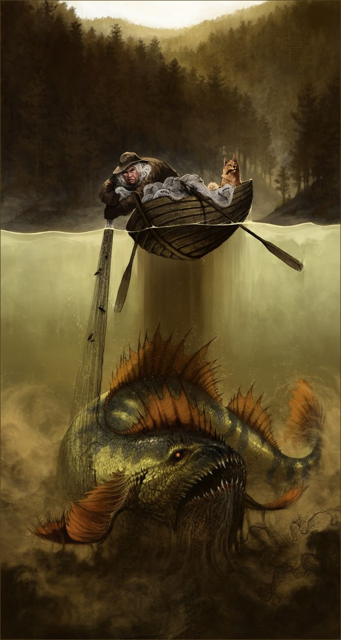 This shows the lake monster that was in the story the rain came.