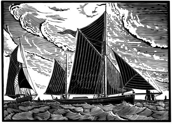 """Pioneer at Sea"" linocut by James Dodds RCA (b.1957). www.jamesdodds.co.uk Tags: Linocut, Cut, Print, Linoleum, Lino, Carving, Block, Woodcut, Helen Elstone, Sea, Boat, Harbour, Waves, Sky, Sails, Sailing."
