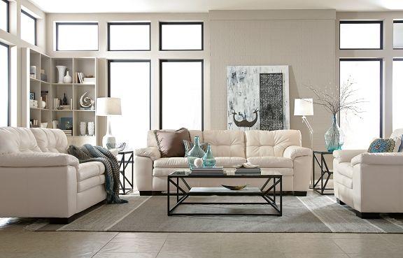 American Signature Furniture Legend White Leather