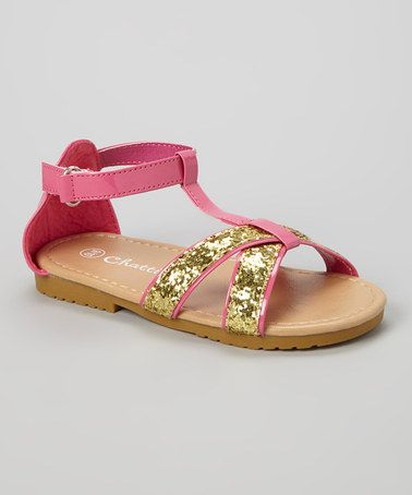 Another great find on #zulily! Fuchsia & Gold Glitter Sandal by Chatties #zulilyfinds