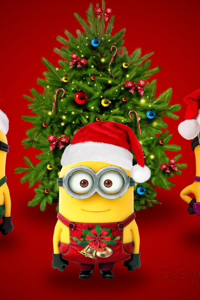 minions christmas hat iphone wallpaper