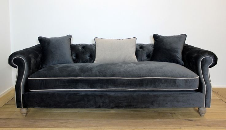 Valentina Sofa Grey Velvet w/Linen Sand from Villa Maison #americanstyle #classic #interiors #design