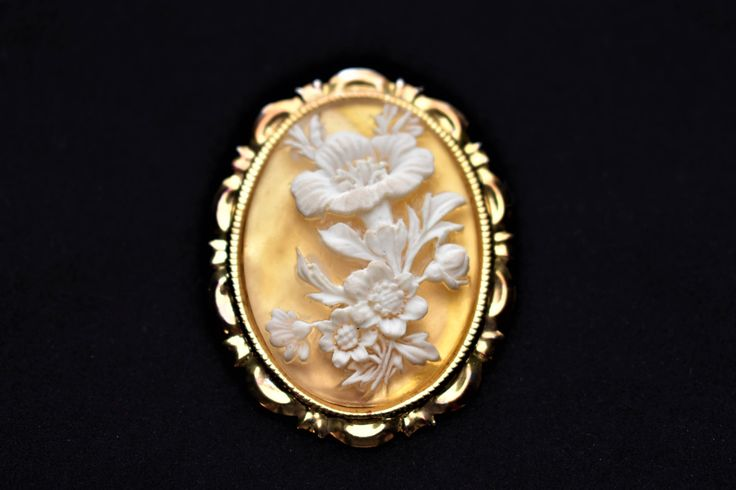 """Vintage 60s Floral Cameo Dress Scarf Clip Flower Coat Sweater Clasp Mid Century Costume Estate Jewelry 2"""" by DecoOwl on Etsy"""