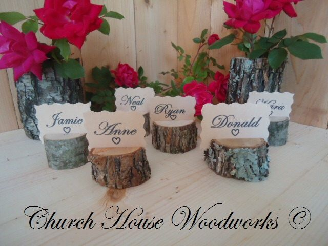 60 rustic place card holders, tree card holders, place holders, rustic wedding decor, tree stump, rustic wood place card holder by ChurchHouseWoodworks on Etsy https://www.etsy.com/listing/264596480/60-rustic-place-card-holders-tree-card