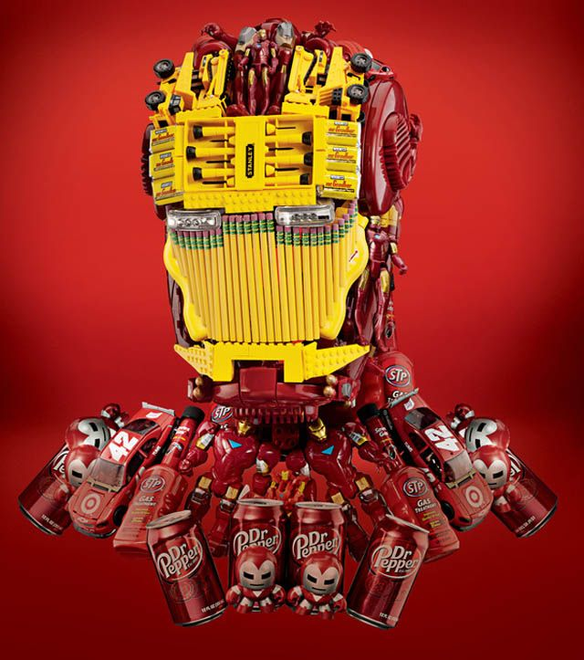 Iron man made out of product placements