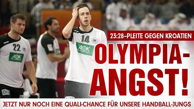 Handball-WM: Deutschland verliert schon wiederOlympia-Angst! Nach 23:28-Pleite gegen Kroatien: Nur noch eine Chance für Rio 2016 http://www.bild.de/sport/mehr-sport/handball-wm/olympia-in-gefahr-deutschland-verliert-gegen-kroatien-23-28-39567308.bild.html